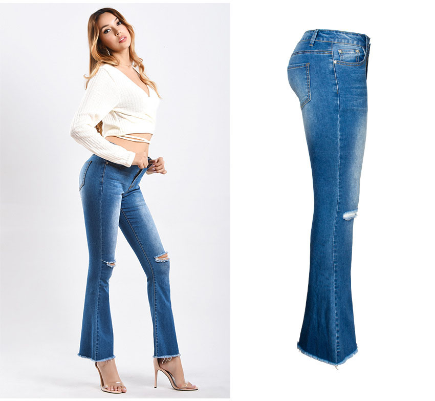Women\`s dress of Europe and America 2018 new wide leg trousers jeans denim flared trousers women\`s worn-out edge trousers (5)