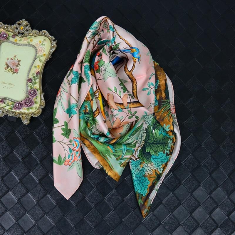 Spring Floral Print Large Square Silk   Scarf   Shawl 100% Silk Twill Scarfs   Wraps   Hijab Foulard Head   Scarves   88x88cm