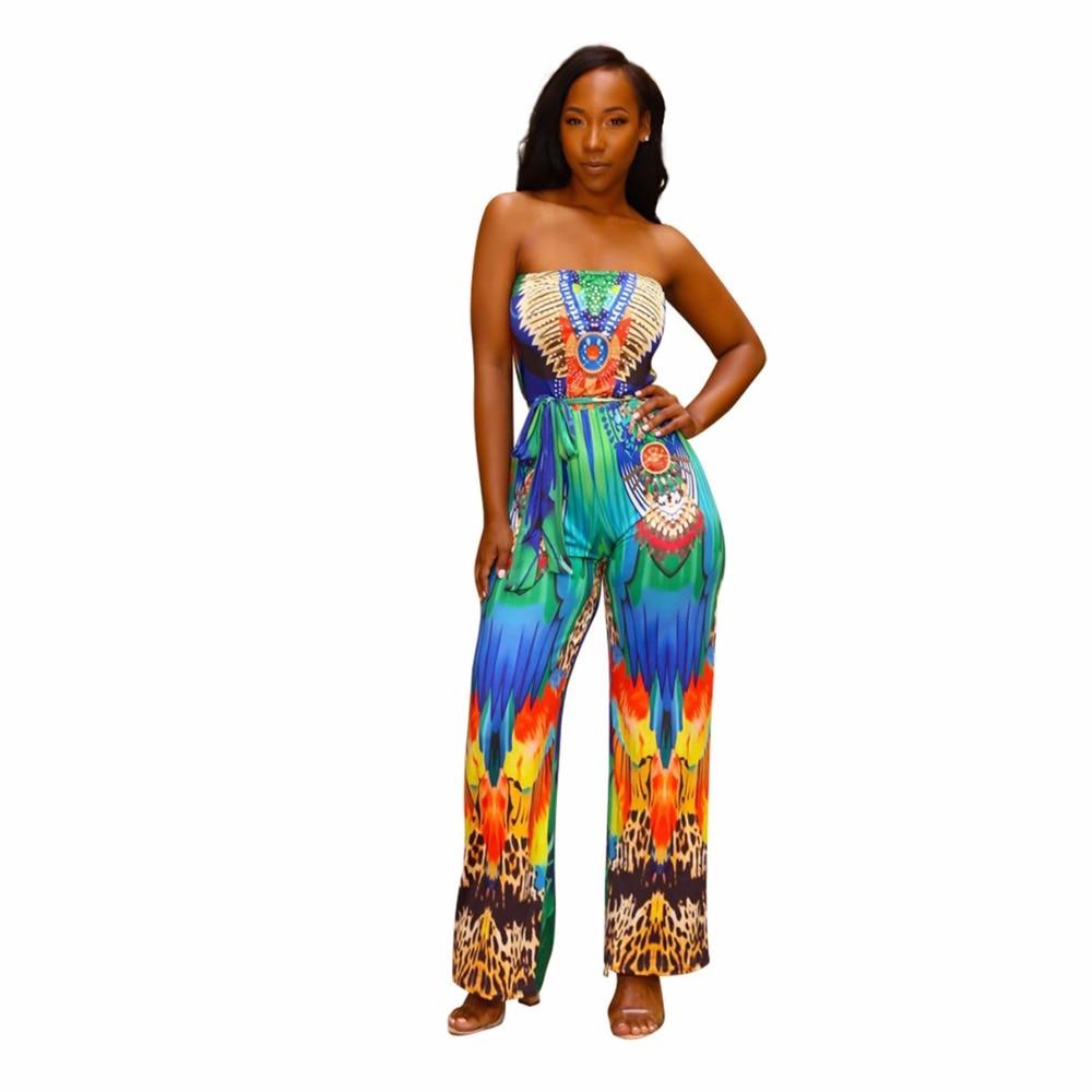 Fashion Summer Women Sexy Jumpsuits Printing Off Shoulder Sleeveless Backless Elegant Ladies Girls straight Romper plus size XXL