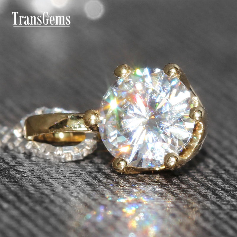TransGems 0.5 Carat Lab Grown Moissanite Diamond Solitaire Slide Pendant Solid 18K Yellow Gold for Women Wedding Engagement transgems 18k white gold 0 5 carat 5mm lab grown moissanite diamond solitaire pendant necklace for women jewelry wedding