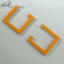 Badu Geometric Acrylic Stud Earring Big Hollowing Square Exaggerated Earrings for Women Punk Jewelry Wholesale