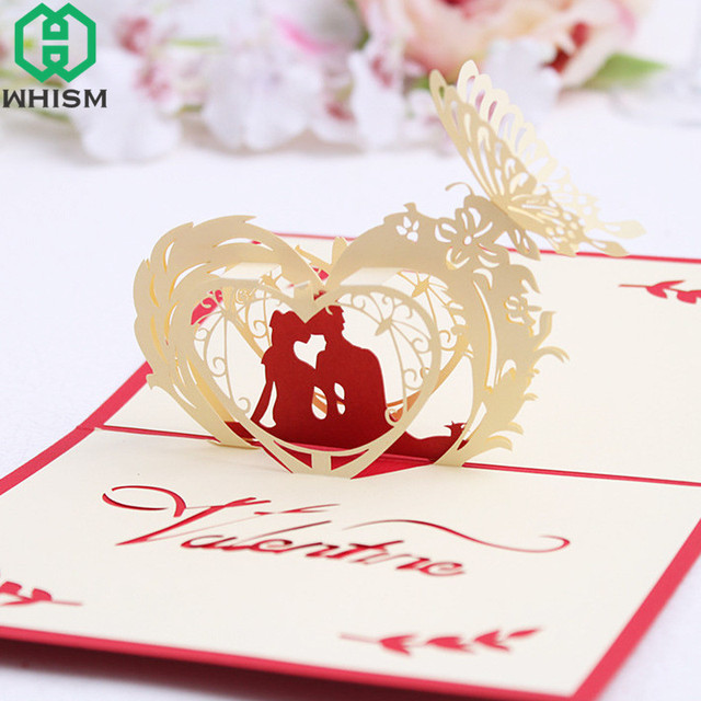 WHISM 3D Pop Up Greeting Postcards Handmade Birthday Gift Cards Laser Cut Tree Blank Vintage Invitation Marriage Messages
