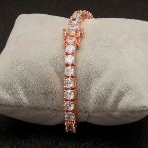 Image 2 - Uwin 1 linha rosa ouro zircão tênis correntes pulseira cor de ouro cobre iced para fora cz corrente hip hop jóias presente transporte da gota