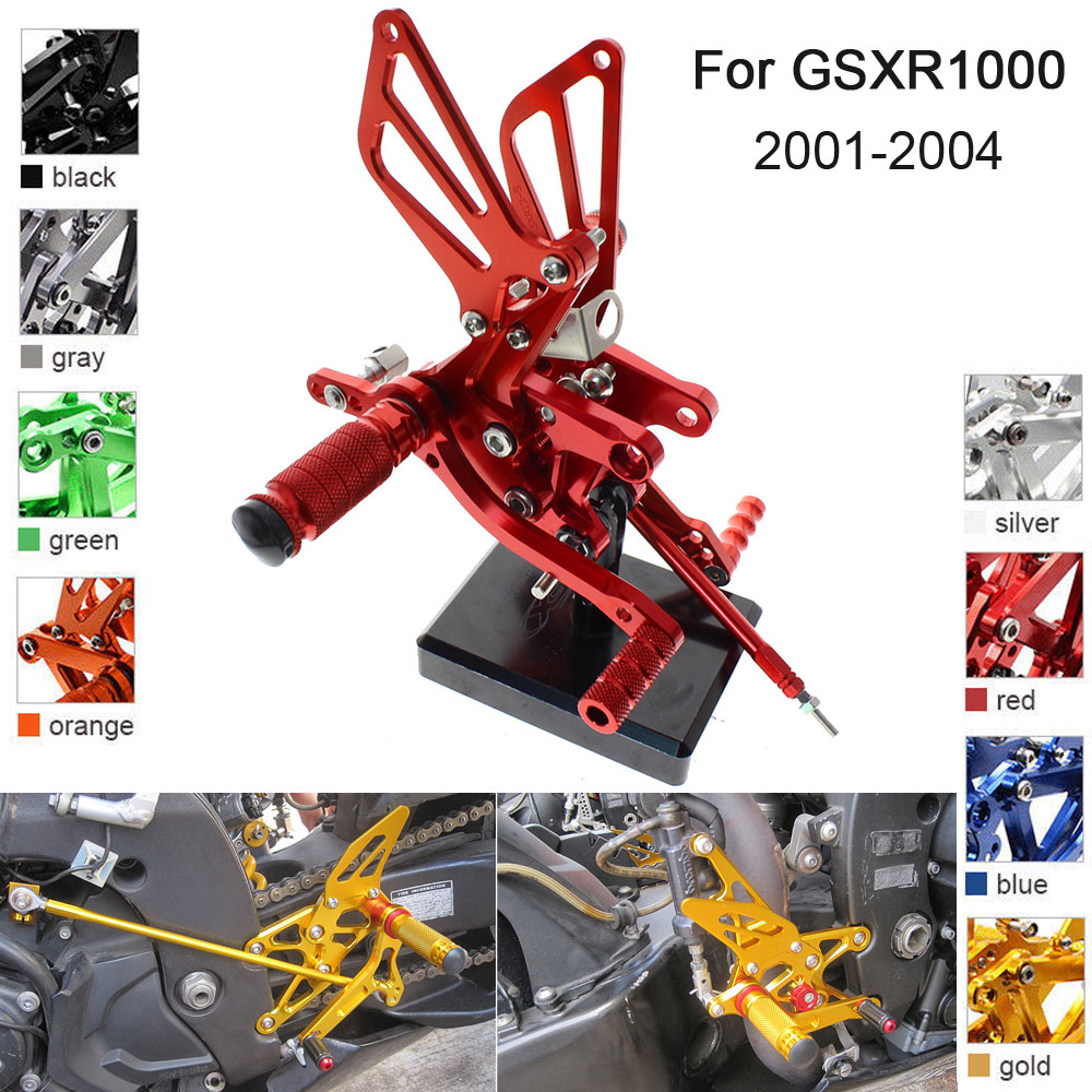 CNC Aluminum Adjustable Rearsets Foot Pegs For Suzuki GSXR1000 GSXR 1000 2001 2002 2003 2004 in Foot Rests from Automobiles Motorcycles