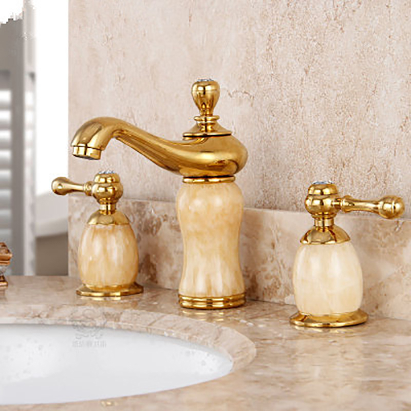 Bathroom Faucet Gold jade double handle three Hole brass made Sink Basin Faucet Cold Hot Water Mixer taps Bathroom Basin basin faucet split faucet soft jade gold brass made cold hot switch double handle bathroom shower room three hole mixer taps
