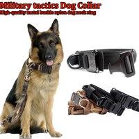 Nueva táctica de Protección tatico hebilla de metal ajustable de entrenamiento militar de Nylon collares de Perro Grande Collar de Perro lobo marrón/negro