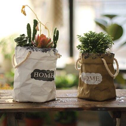 Maison Yard sac en papier créatif en forme de Pot de fleur avec pli Vase ornement Pot de fleur poche forme Statue artisanat décoration Art