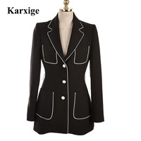 Autumn Leisure Golden Button Black White Edge Fasten Strip Women Office Lady Female High End Suit