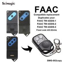 FAAC TM 433DS-1, TM 433DS-2, TM 433DS-3 código fixo 433 mhz controle remoto da porta da garagem porta de substituição
