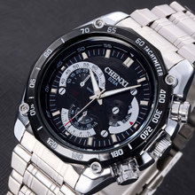 Brand CHENXI Stylish Men Watch Waterproof Silver Stainless Steel Unique Casual Quartz Watch for Man Sport Clock Male Big Dial
