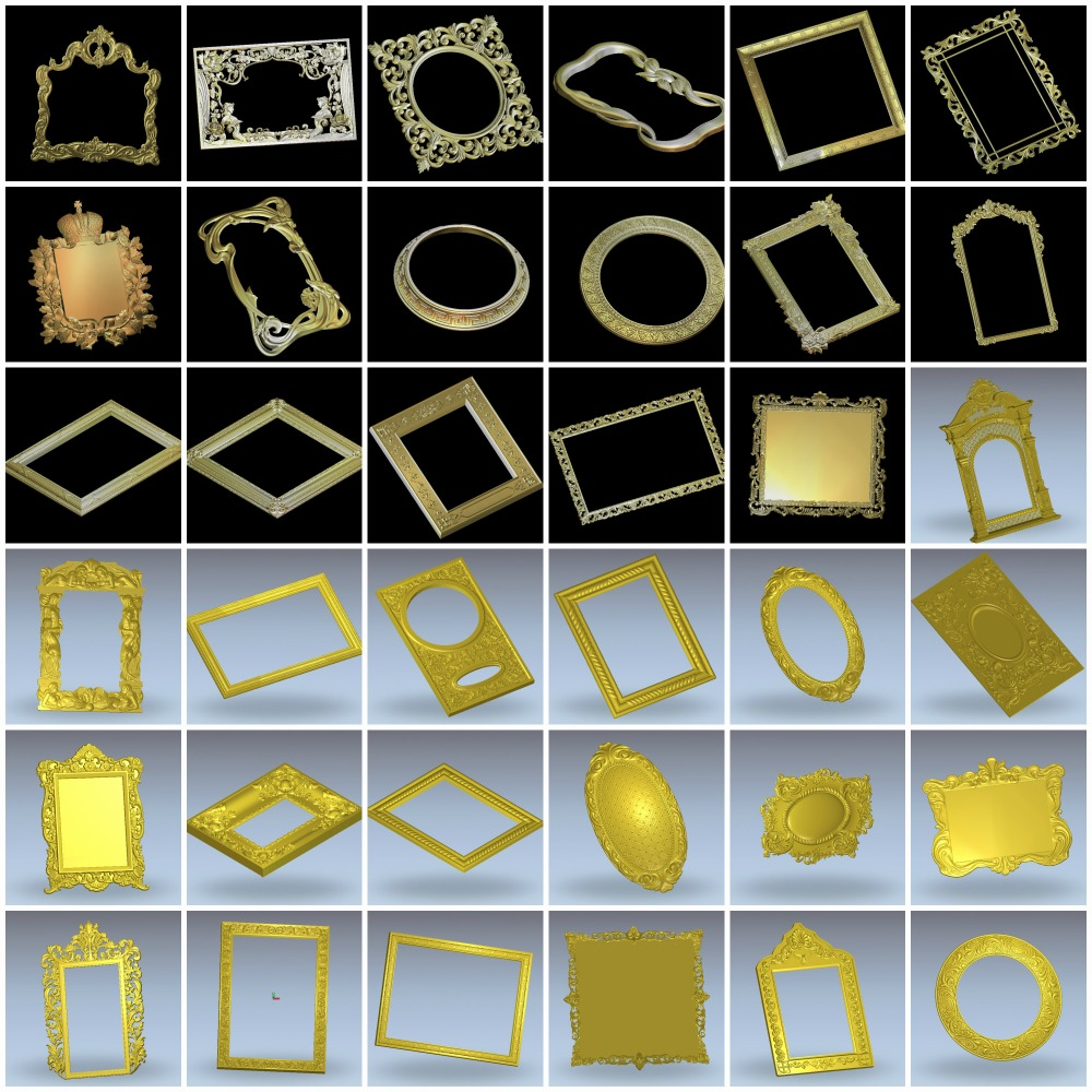 36 Pieces Relief Frame Model 3D Model Artcam Type3 Aspire Cnc Carving Engraving STL Format Files Frame 4