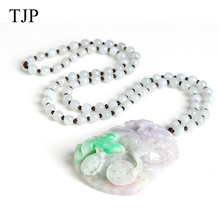 TJP Emerald Beautiful stone Jade Kirin Jewelry accessories Authentic pendant necklace WH1030 Free shipping