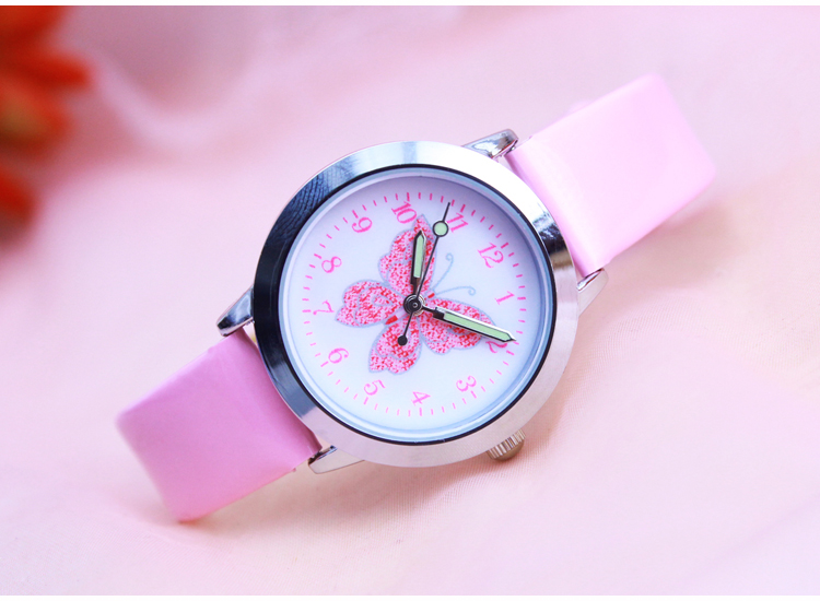 Fashion Brand Children's Watches Kids Quartz Watch Student Girls Quartz-watch Cute Colorful Butterfly Dial Waterproof Watch