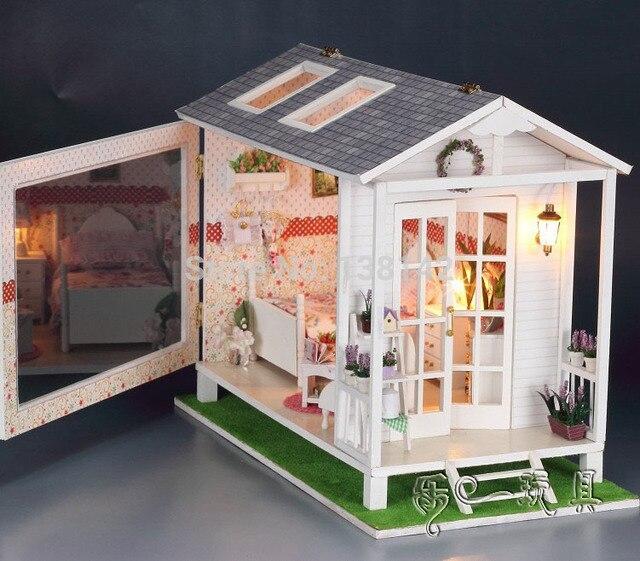 13817 хонгда diy большой любить деревянная кукла пляжный домик вилла миниатюрный кукольный дом отдыха ручной бесплатная доставка