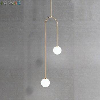 Прикроватные подвесные светильники в форме U для спальни, современные лампы для столовой, гостиной, бара, Led стеклянный шар, теплые светильни...