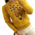 Autumn Korean New Sweater With Deer Woman Fashion Sen Female Cartoon Sequin Sweater Knitted Top Long Sleeve Embroidery Pink