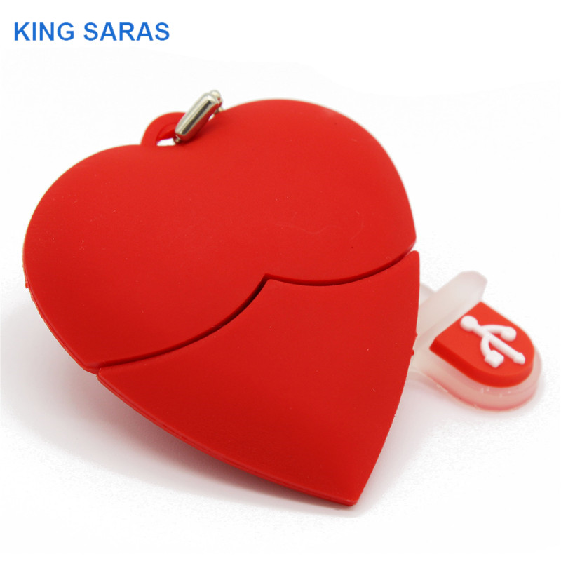 KING SARAS  Cartoon Red Heart Model Usb2.0 4GB 8GB 16GB 32GB 64GB Pen Drive USB Flash Drive Creative Gifty Give