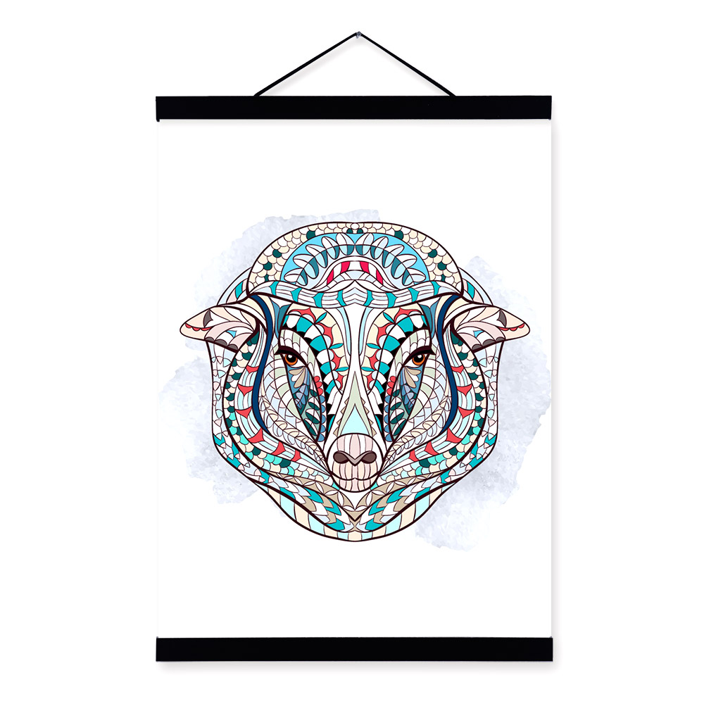 Modern Ancient <font><b>African</b></font> National Totem Animals Sheep Head A4 Scroll Canvas Painting Wall Art Print Picture Poster <font><b>Home</b></font> <font><b>Decoration</b></font>