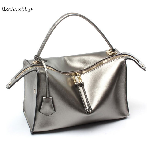 Mschastiye Women Genuine Leather Handbags Autumn And Winter Cowhide Casual Tote Bags Shoulder Bag