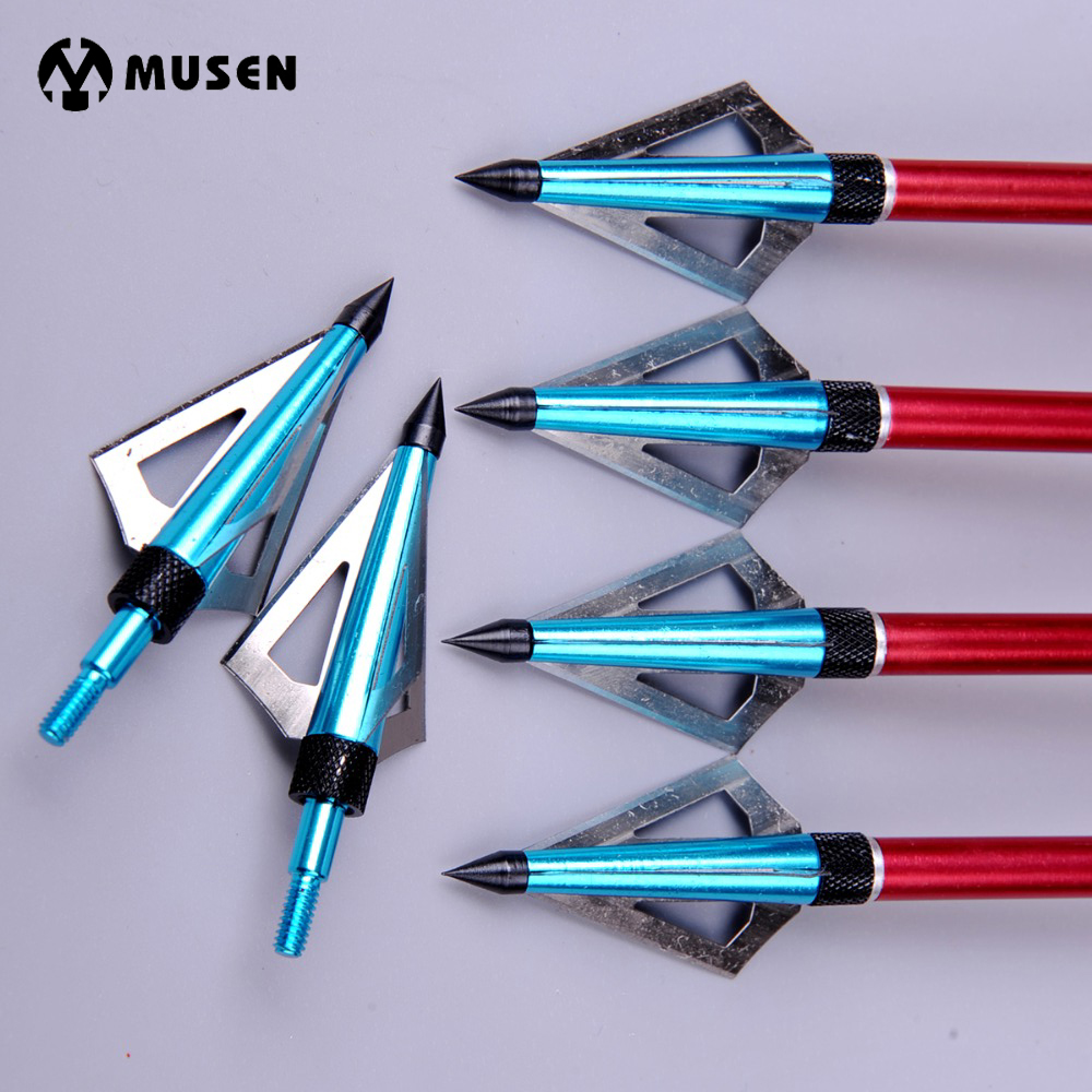 6pcs/lot 100 Grain Hunting Crossbow Arrow Broadhead With 3 Fixed Blades Used As Archery Bow And Arrow Free Shipping