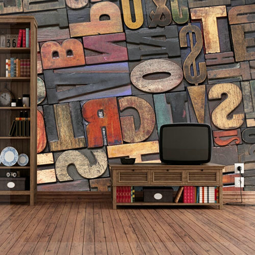Vintage Study Room: Europe Abstract Mural Wallpaper 3D Vintage Study Room