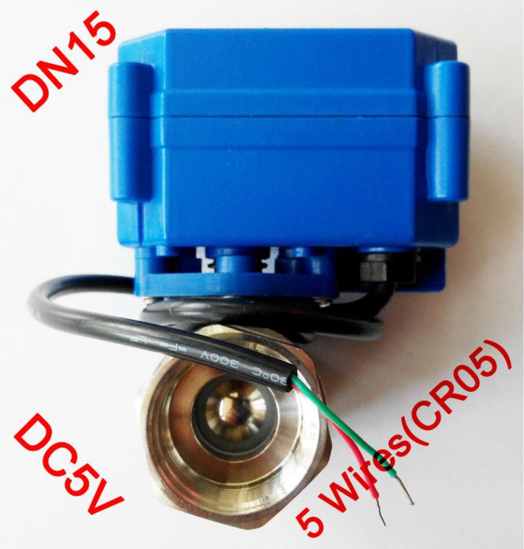 1/2 Mini electric ball valve 5 wires(CR05), DC5V motorized valve SS304, DN15 electric automatic valve with signal feedback shipping free dc5v 1 stainless steel electric ball valve dn25 electric motorized ball valve 2 wires cr01 wiring