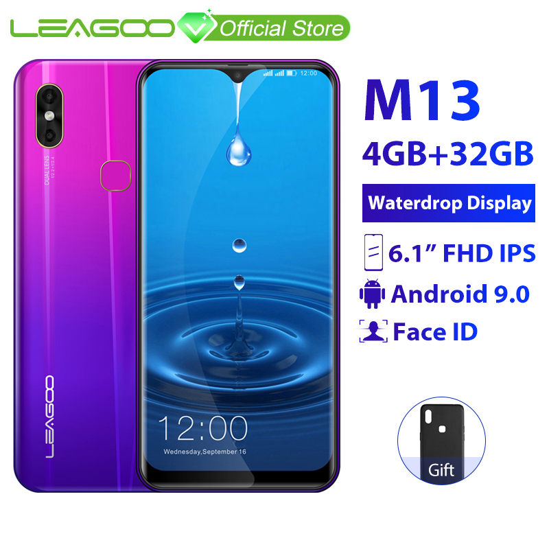 "LEAGOO M13 4GB RAM 32GB ROM Mobile Phone Android 9.0 6.1"" Waterdrop Screen MTK6761 Quad Core Fingerprint Face ID 4G Smartphone"