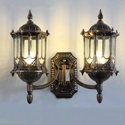 Odkryty światła europejski styl wodoodporne ściany lampy podwójna głowica lampy ogrodowe oświetlenie zewnętrzne kinkiety za FG217|Lampy ścienne|Lampy i oświetlenie -