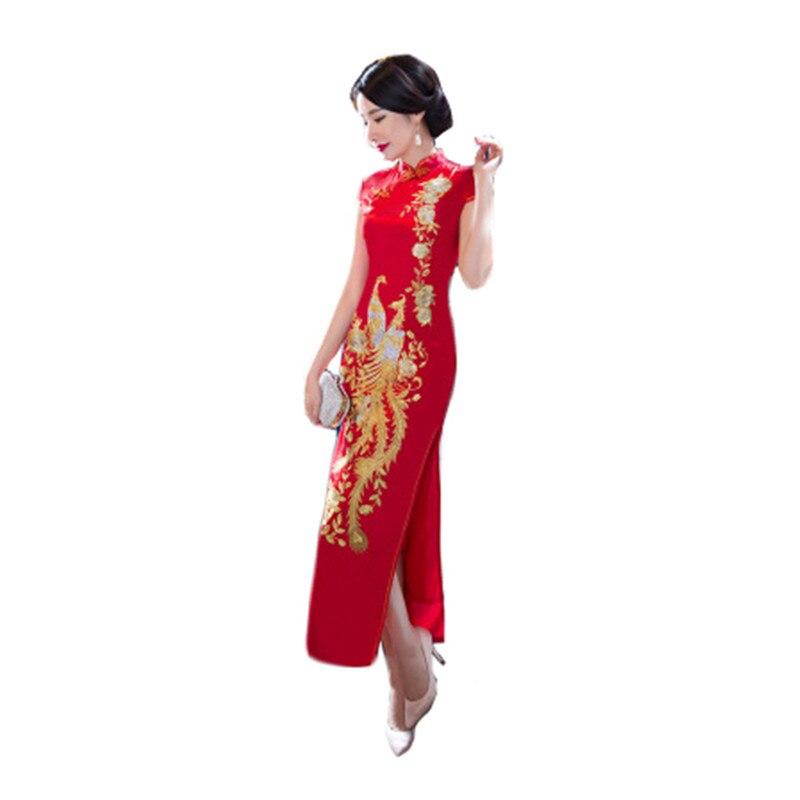 Robe de soirée 2019 nouveau été rouge Phoenix S-5XL grande taille chinois Vintage robes maman mode haute fendue Sexy robe Vestidos LD754