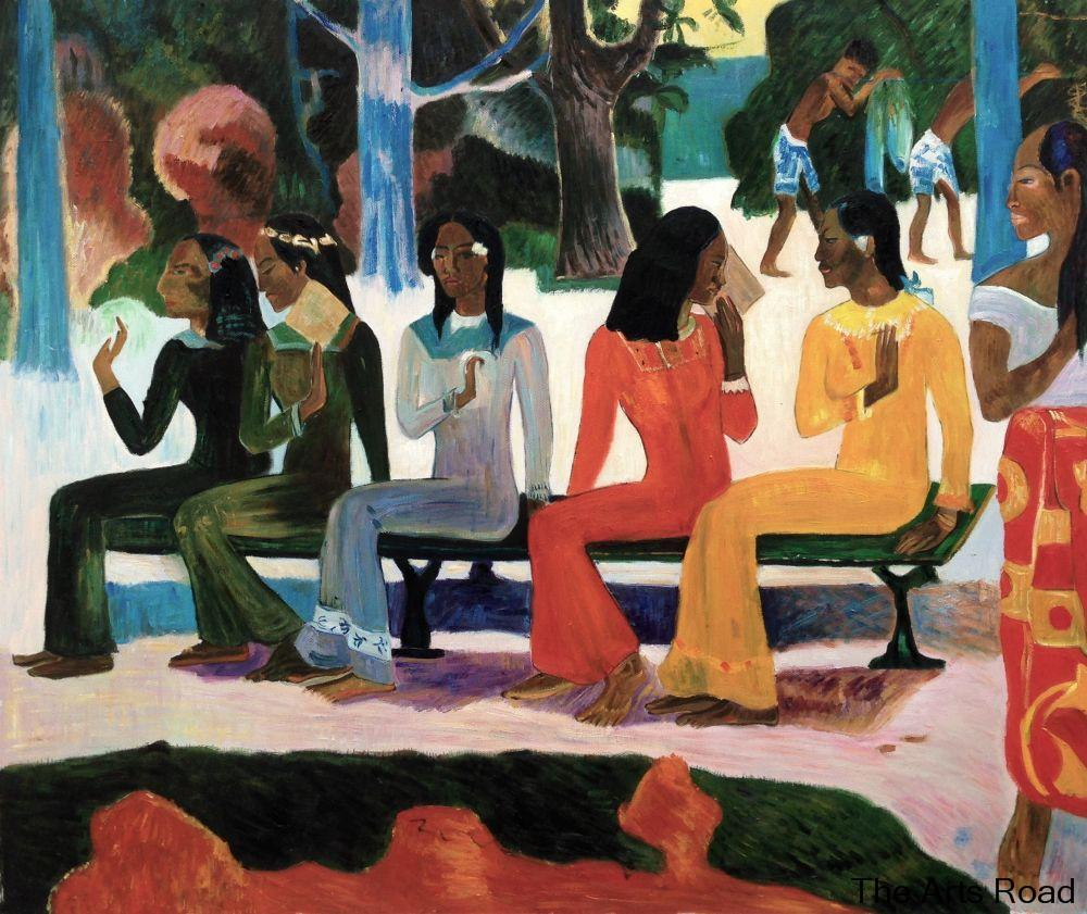 Large Abstract Oil Painting Figures Artwork Ta Matete (We Shall Not Go To Market Today) Paul Gauguin Painting Hand Painted