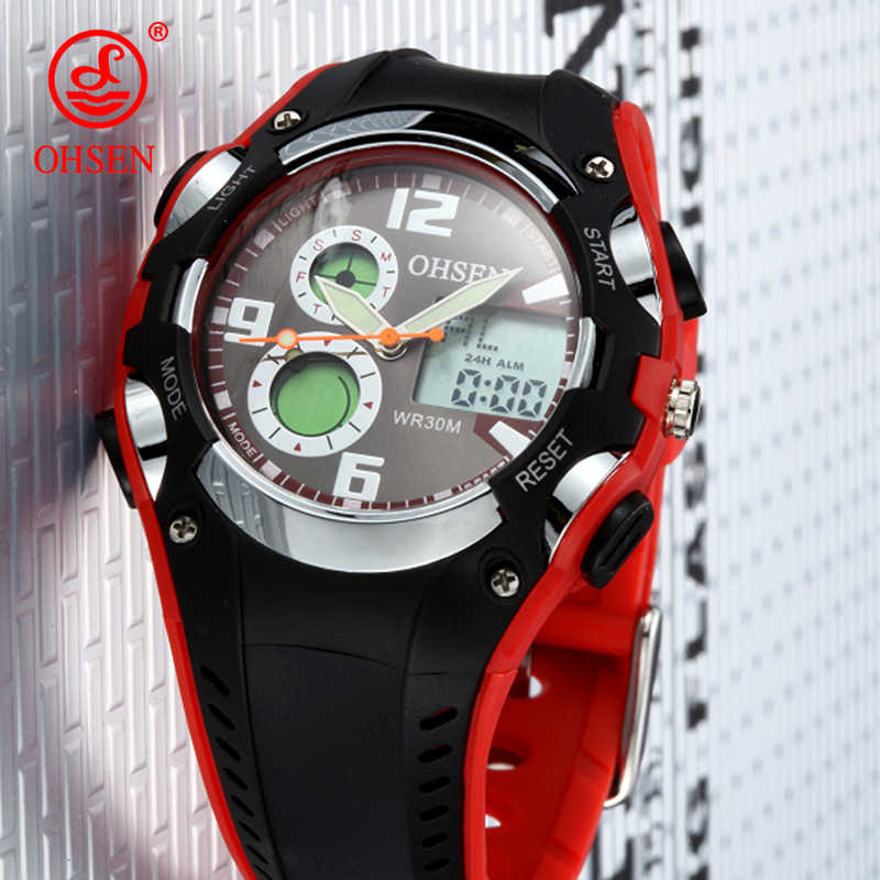 2018 New OHSEN Relogio Masculinos Luxury Brand Backlight Horloges Mannen Stopwatch Orologio Uomo Waterproof Sports Watches Men