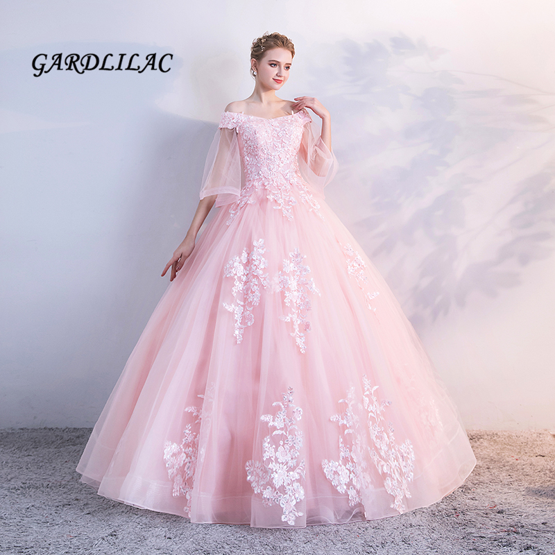 Pink Quinceanera Dresses Ball Gonw Long Prom Dress Tulle With Lace Appliques Masquerade Sweet 16 Dress Vestidos De 15 Anos