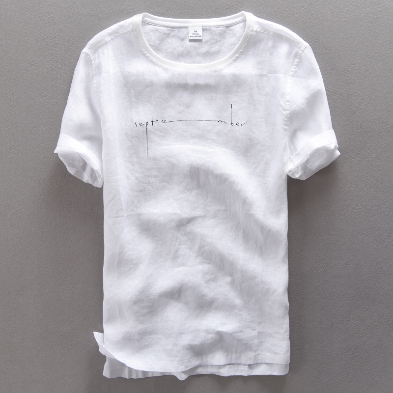 Round Neck Print Letters Short Sleeve Pure Linen T Shirt Men Summer Casual T-shirt Men White Thin Flax Tshirt Mens Camiseta 3XL