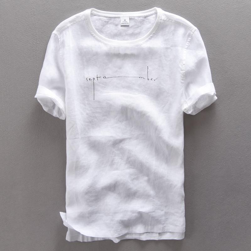 Round Neck Print Letters Short Sleeve Pure Linen T Shirt Men Summer Casual T-shirt Men White Thin Flax Tshirt Mens Camiseta 3XL
