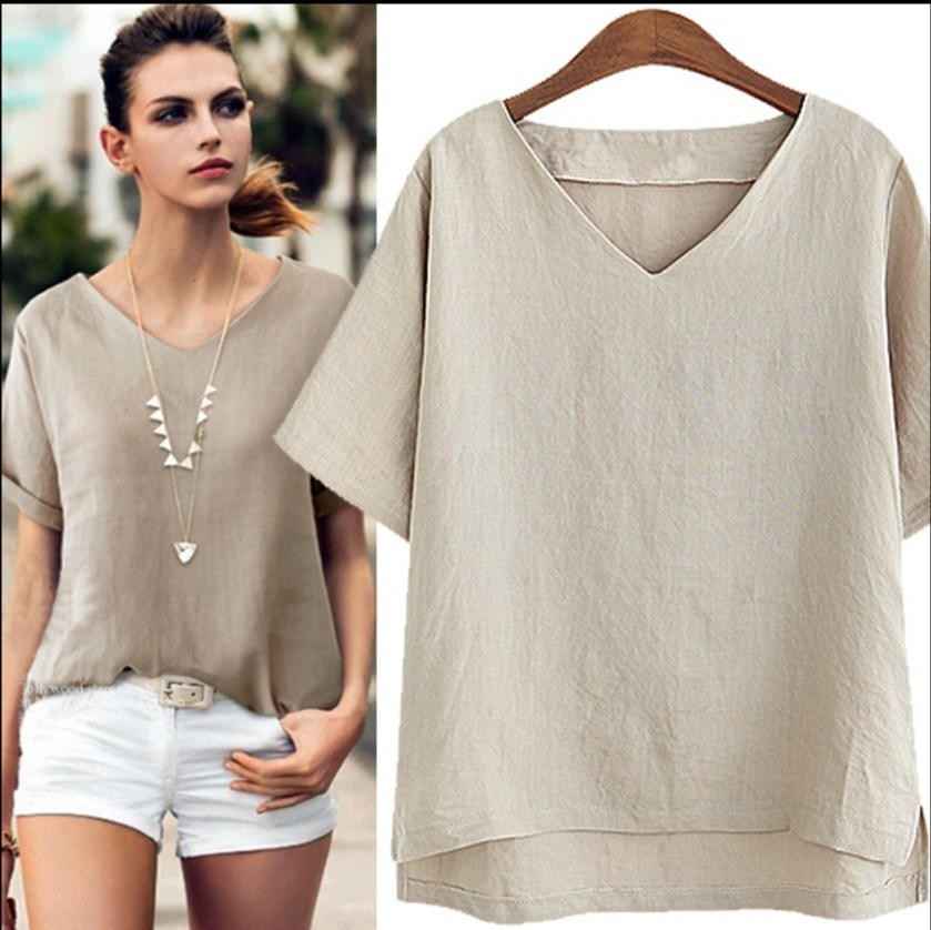 Summer Women Fashion V Neck Loose Blouse Casual Office Cotton And Linen Shirt Solid Short Sleeve Basic Plus Size Blouses