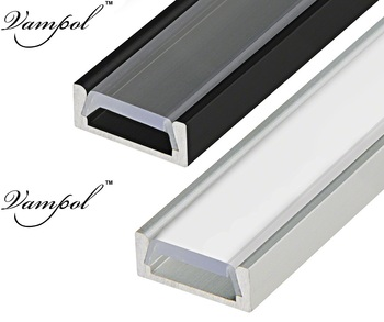 Vampol Lanpshade holders customized length Aluminum Channel for surface mounted flash line LED strip lights with Opal Cover