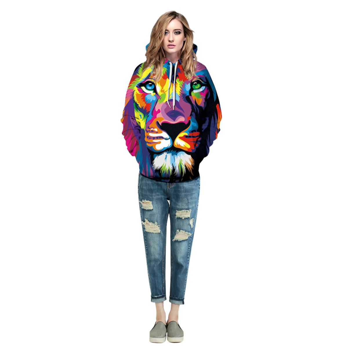 Men/Women New Fashion Colorful Hoodies 3D Printed Paint Animal Lion Sweatshirts Hooded Pullover With Pockets Casual Tops