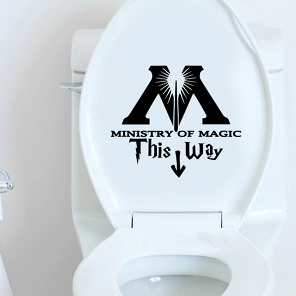 Ministry of Magic This Way Vinyl Decal Harry Potter Sticker Wall Quote Art Wall Stickers Home Decor 25CM Heigh Toilet Sticker