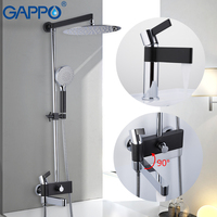 Comparar Sistema de ducha GAPPO grifo de agua de latón cromado y grifo de baño negro Juego