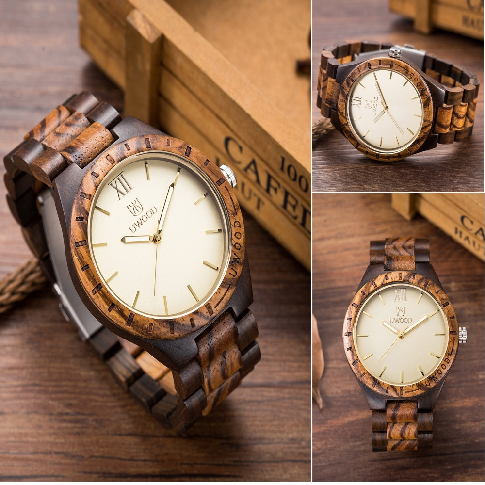 Uwood Luxury Natural wood wristwatch for men fashion Quartz Watches With Wooden Watch Men`s unique Christmas gift 3 colours tjw new men s wood watch sport watches men waterproof bamboo wooden watch fashion wooden man quartz wristwatch as gift item