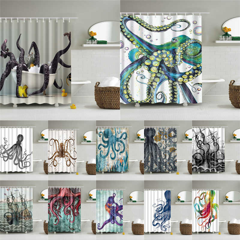 Sea Octopus Shower Curtains Fabric Waterproof Polyester Printing Shower Curtains 22 Color Available Bathroom Shower Curtains