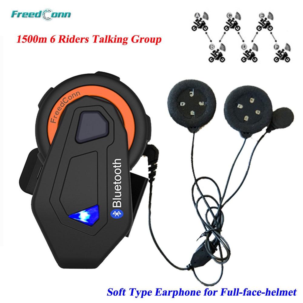 Casque d'interphone de moto d'interphone de T-MAX d'affranchconn casque d'interphone de groupe de 6 coureurs Interphone de talkie-walkie de Bluetooth avec l'écouteur mou