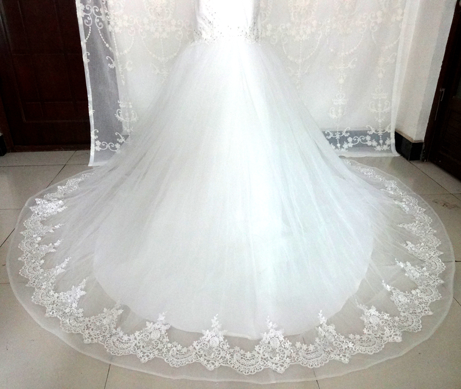 Imagini reale White Ivory Big Tren de nunta rochie Vintage musulman - Rochii de mireasa - Fotografie 5