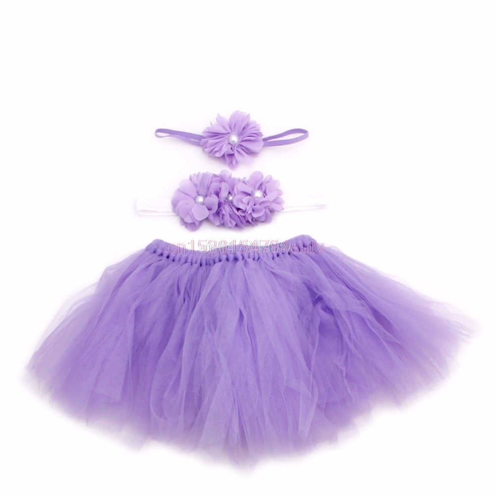 Lovely Baby Toddler Girl Flower Clothes Hairband Tutu Skirt Photo Prop Costume H055