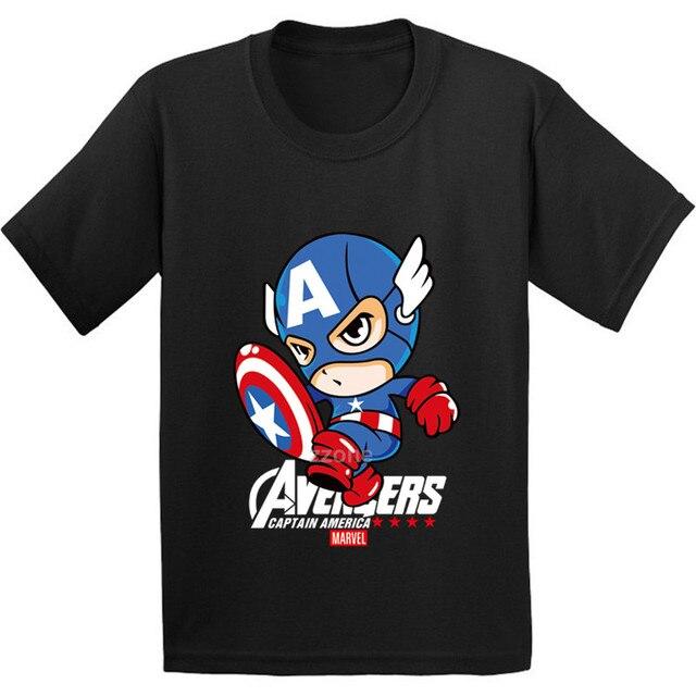 cf8ff8a2 100% Cotton,Cartoon Captain America Pattern Kids T shirt Baby Avengers  Super Hero Funny