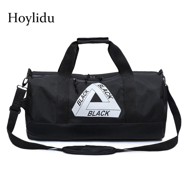 New Nylon Black Mens Travel Duffle Letter Korean Fashion Large Capacity Design Handbags Unisex Casual Waterproof Crossbody Bag