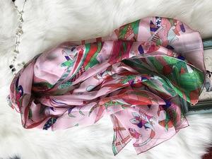Image 4 - 2018 new style women summer silk scarf flower print large shawl