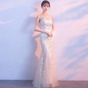 Vestido De Festa Mermaid Dress Lace Bodice Long Bridesmaid Dresses Formal Prom Dress Sequined Charming Wedding Party Gowns Q025