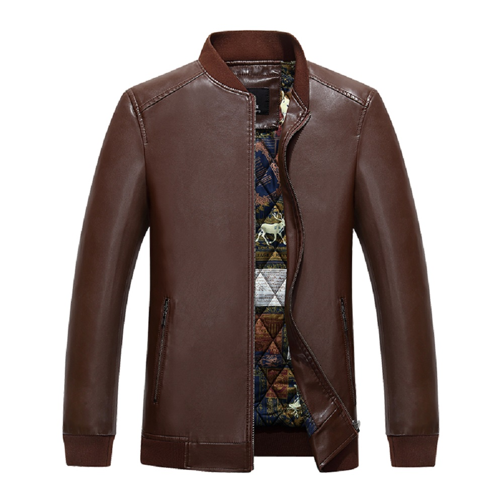 KUYOMENS New Fashion Men Leather Thick Jacket Jaqueta Couro Casual mens leather jackets and coats Brand Motorcycle Jacket