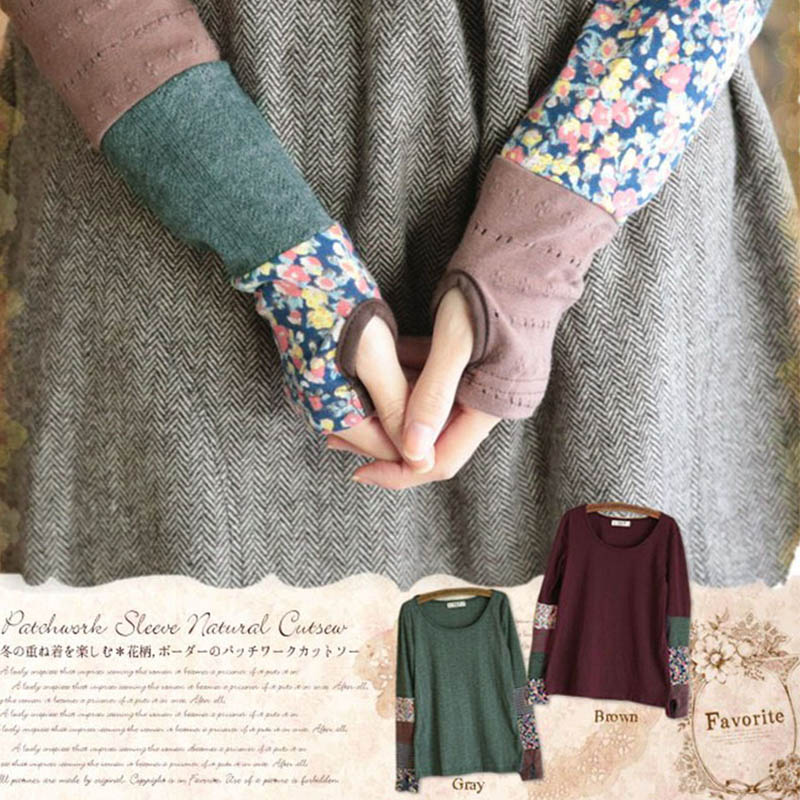 Japanese Women Spring Sweet Long Sleeve Quilting Stitching Fingerless Stretch Hand Color Cute Kawaii Lolita Shirt Mori Girl D127